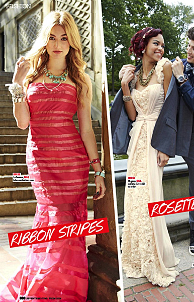 La Femme Style 19728 (left) in Seventeen Magazine Prom 2014 Edition-Page 80
