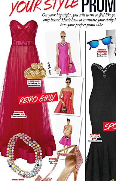 La Femme Style 19809 (left) in Seventeen Magazine Prom 2014 Edition