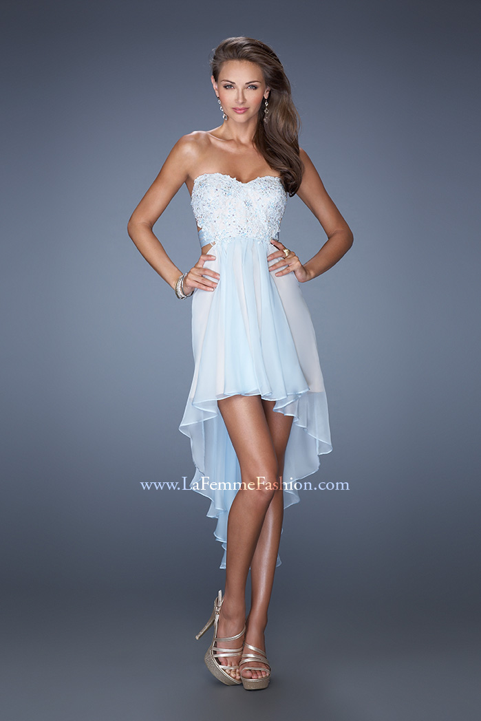 Picture of: Strapless High Low Chiffon Prom Dress with Embellished Lace,  Style: 19716