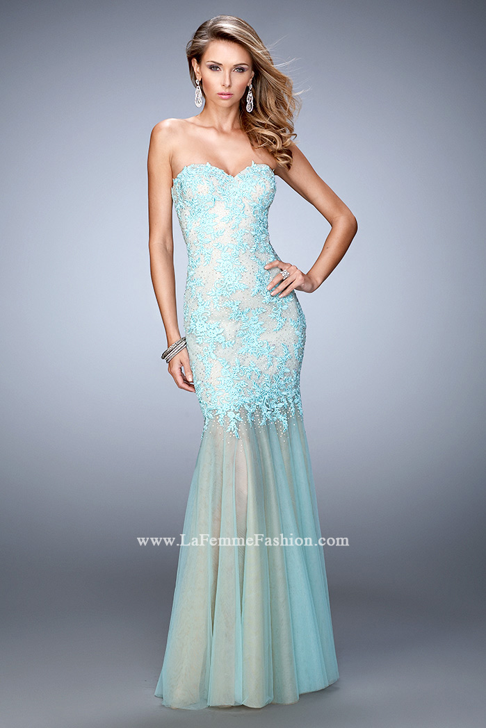 Picture of: Net Mermaid Prom Dress with Sheer Skirt and Rhinestones, Style:  21604