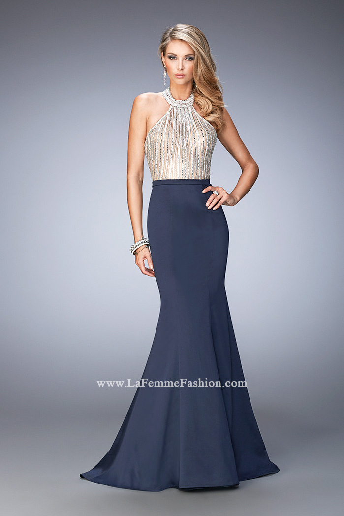 4e36e1a3b8a Picture of  Mermaid Prom Gown with Crystal Halter Bodice and Train