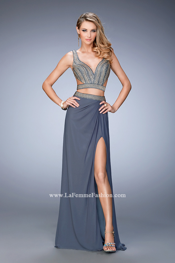 prom beaded piece two image cut larger la out dresses femme p long slit stud