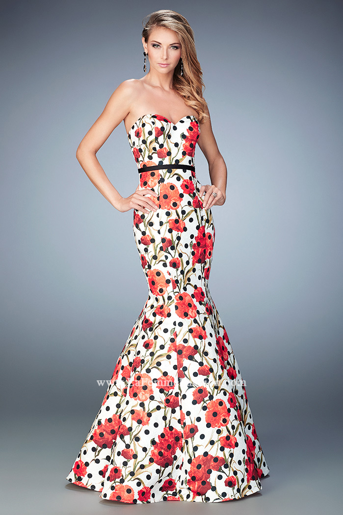 7efc2caf56ff5 Picture of: Jacquard Mermaid Dress with Flower and Polka Dot Print, Style:  22348