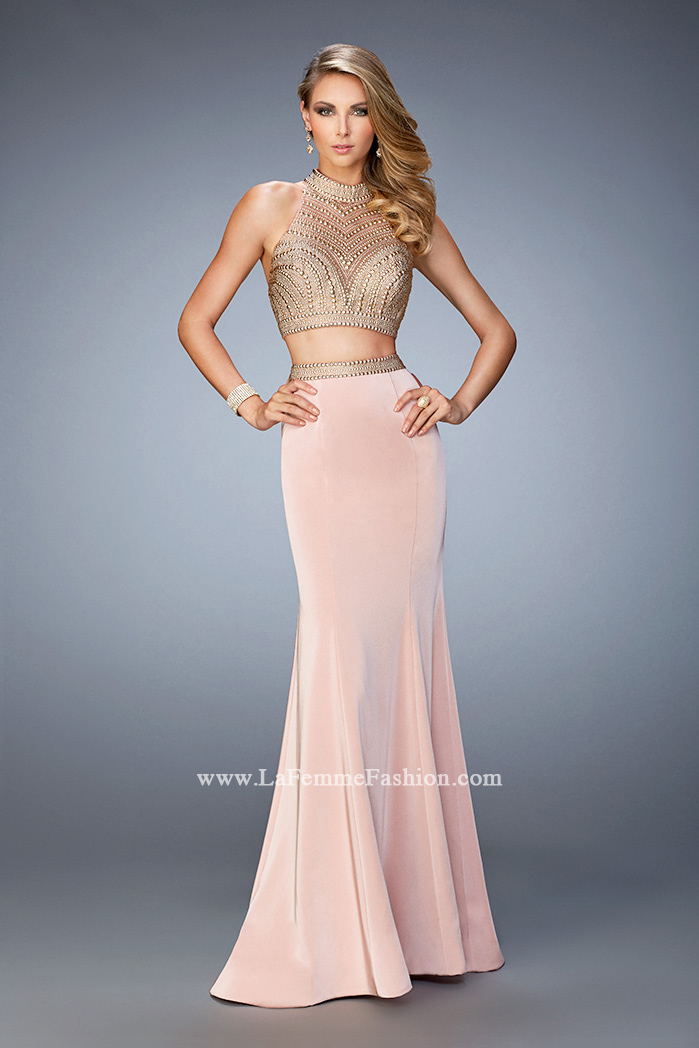 5049b26ea61 Picture of  Two Piece Studded Prom Dress with Mock Neck