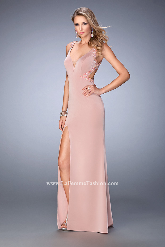 1bfffc60cc Picture of  Long Jersey Prom Gown with Side Leg Slit and Stones