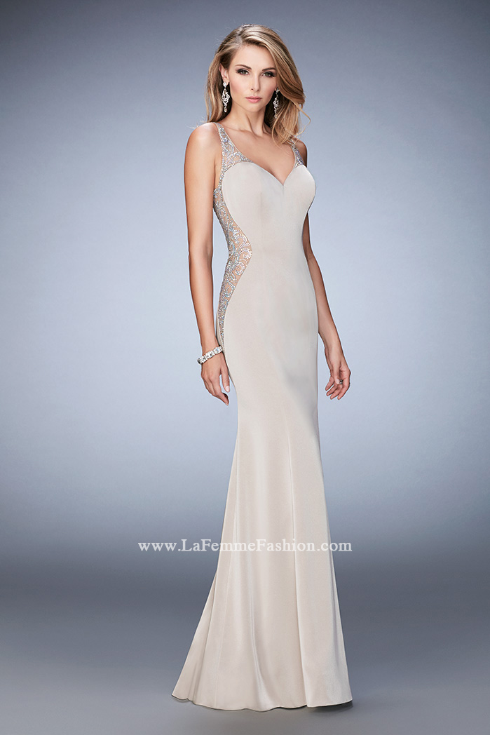 91953dd2796 Picture of  Jersey Prom Gown with Sheer Back