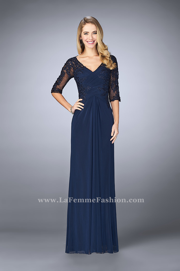 Picture of  3 4 Sleeve Evening Dress with Lace Accents e7414fd13f38