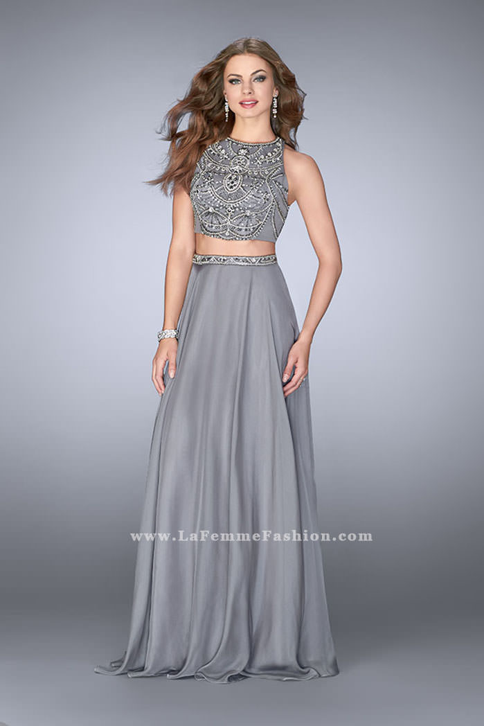 4065b633b46 ... Gigi prom dresses  La Femme 23860. Picture of  High Neck Two Piece Dress  With a Beaded Top