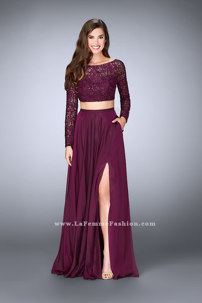 5a3132527ef Picture of  Long Sleeve Two Piece Gown with Sheer Neckline