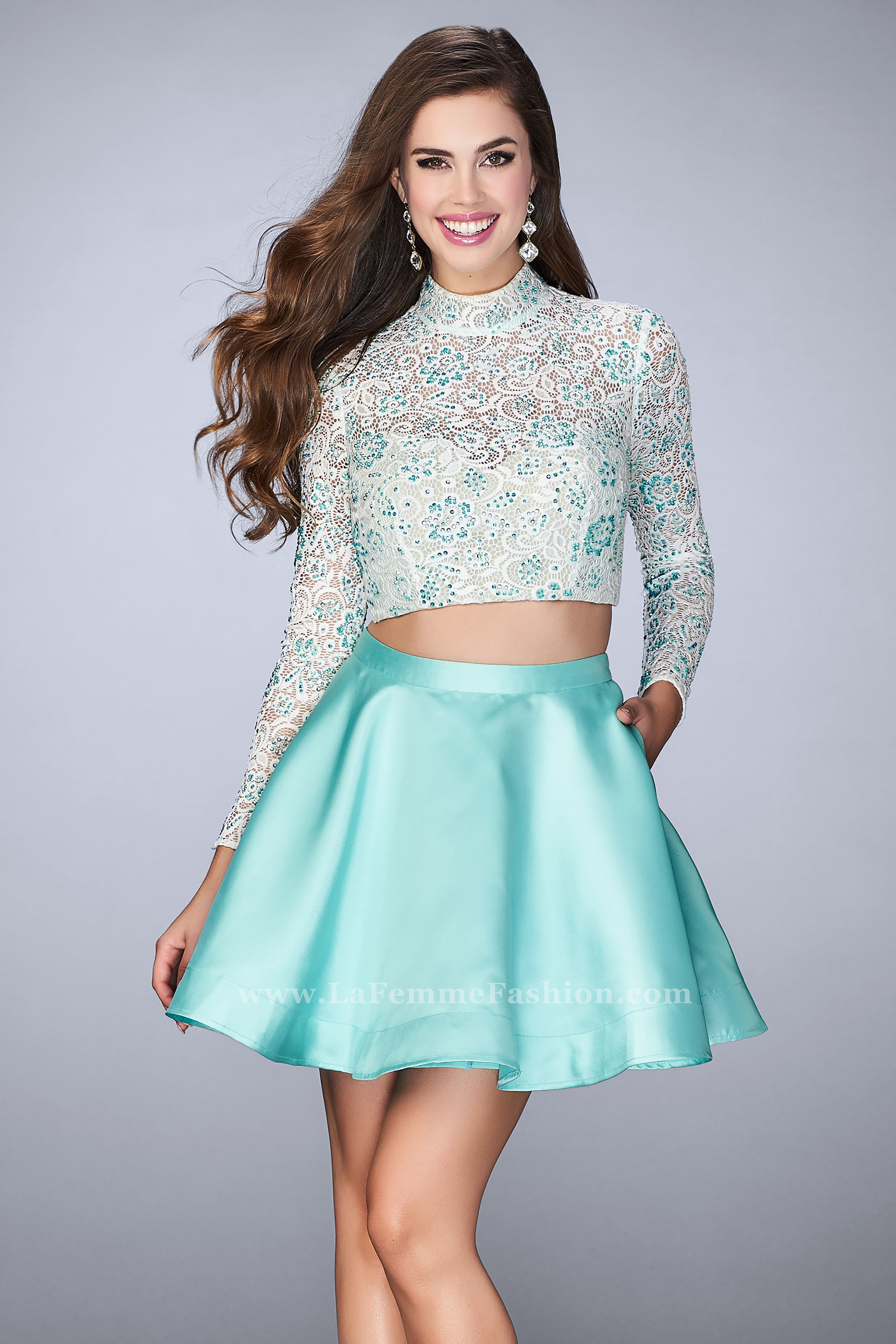 1b9f9df4c0934 Picture of  Short Two Piece Dress with Long Sleeve Lace Top