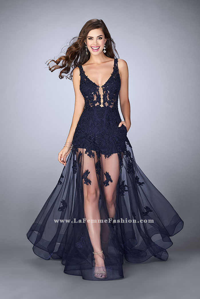 8352812a0c Picture of  Sheer Lace Romper Prom Gown with Pockets