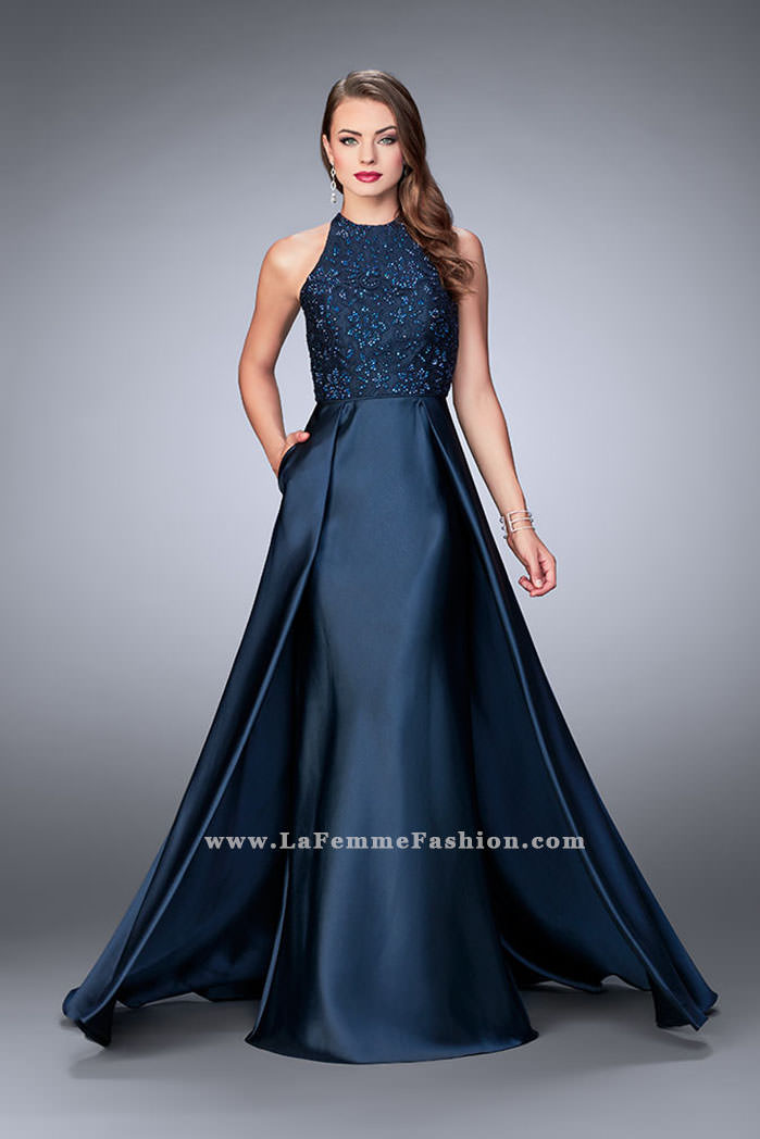 d719b89d0e35 Picture of: High Neck Cape Dress with Mikado Skirt and Lace Top, Style:
