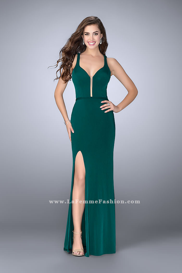 Picture of: Fitted Prom Dress with Deep Neckline and Strappy Back, Style:  24437