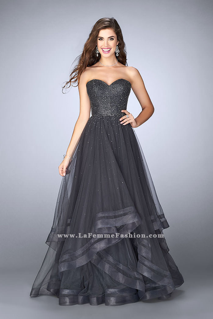 47626bbf59c Picture of  Beaded A-line Prom Dress with a Tiered Tulle Skirt