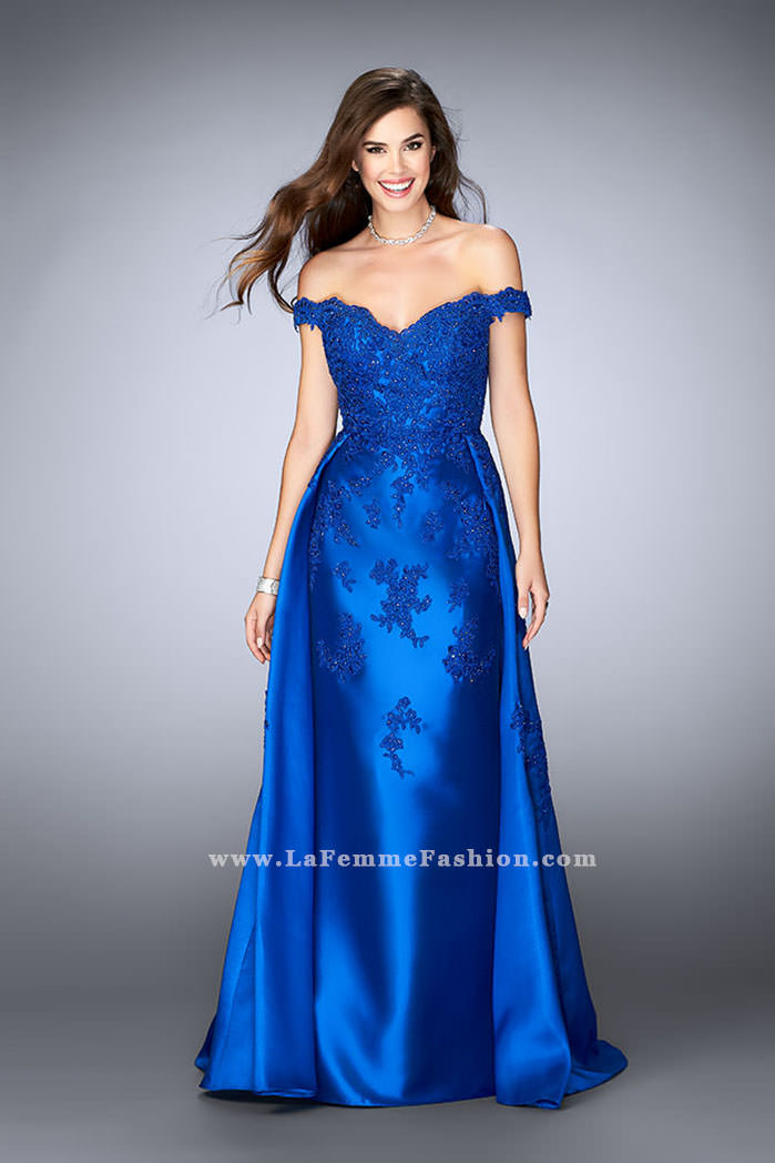 3e75fa6282c1 Picture of: Off the Shoulder Prom Gown with Mikado Skirt and Cape, Style: