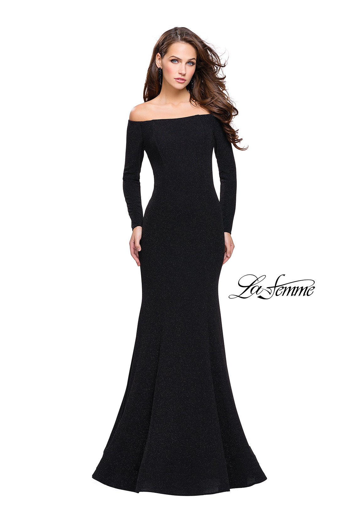 93c3ce7bf2d Picture of  Long Sleeve Off the Shoulder Prom Dress with Open Back
