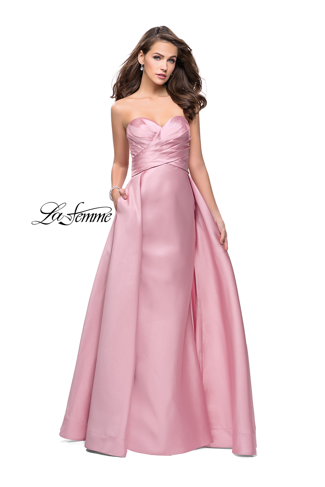 b68d3c86ab46 Picture of: Strapless A-line Prom Dress with Cape Skirt and Pockets, Style