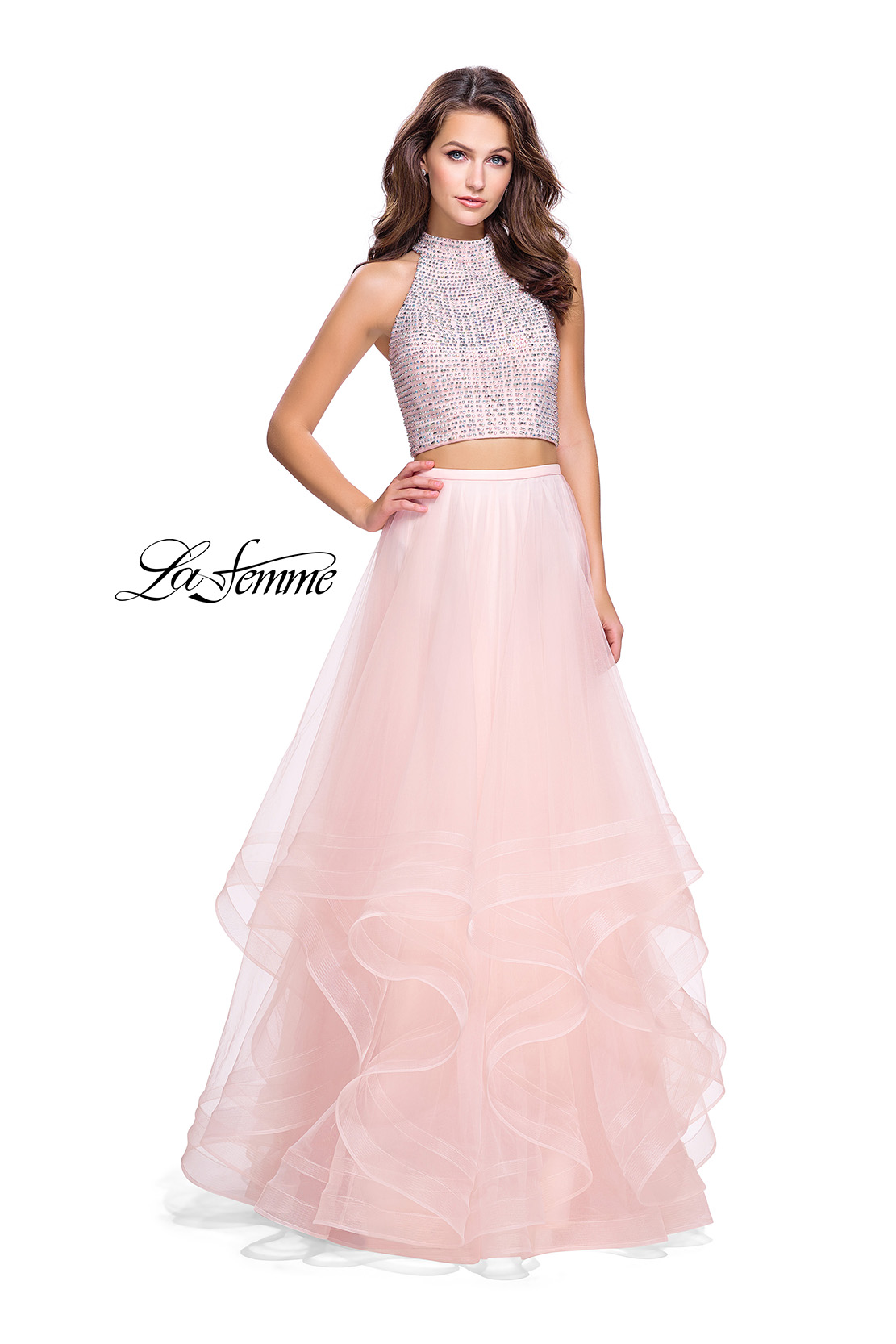 37454e138fd Picture of  Two Piece Prom Gown with Ruffle Tulle Skirt and Beading