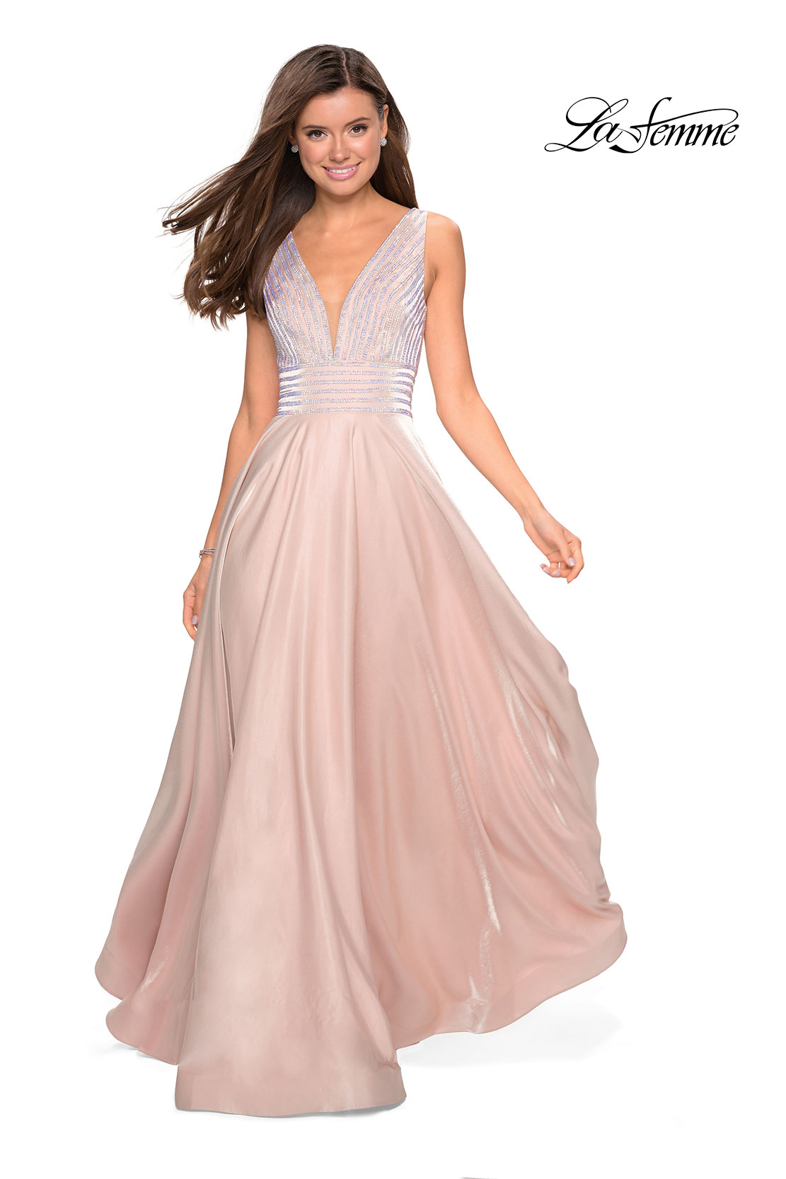 6d576251298 Picture of  Satin Prom Gown with beaded Bust and Pockets