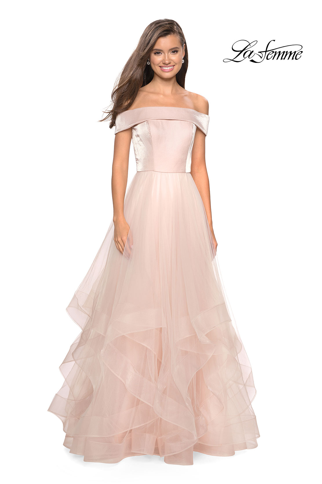 8a3ad8102b2 Picture of  Elegant Off the Shoulder Tulle Layered Ball Gown