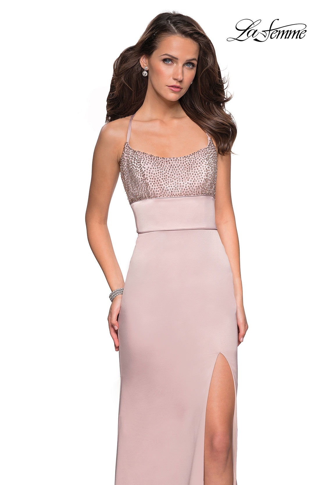 5e20eb27bfb Picture of  Fitted Jersey Dress with Banded Waist and Beads