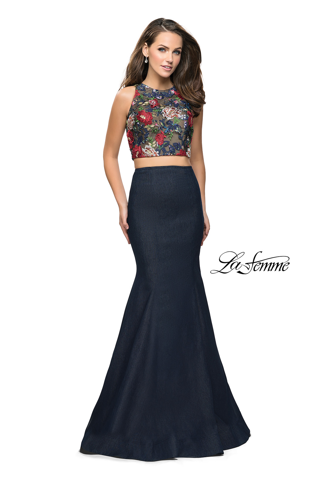 4df172db4efbb Picture of: Two Piece Mermaid Prom Dress with Denim Skirt, Style: 25614,