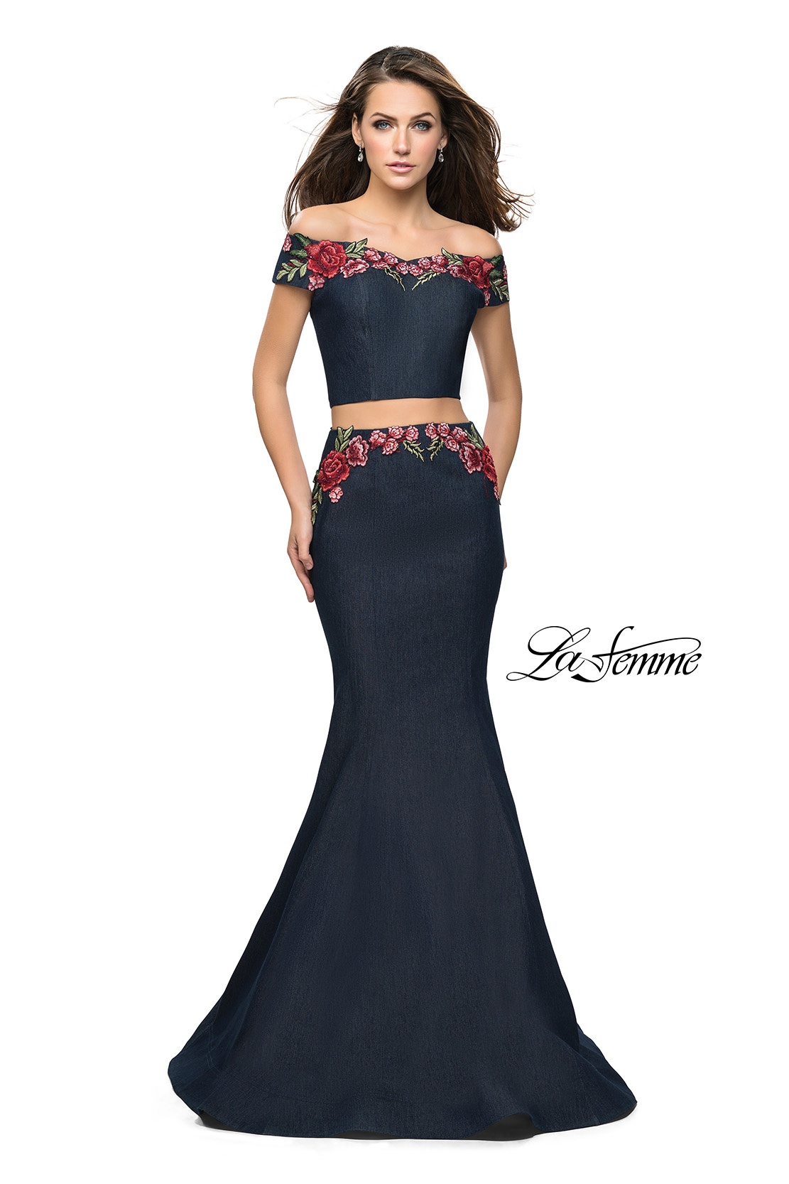d978301a7e Picture of  Denim Off the Shoulder Floral Two Piece Prom Dress