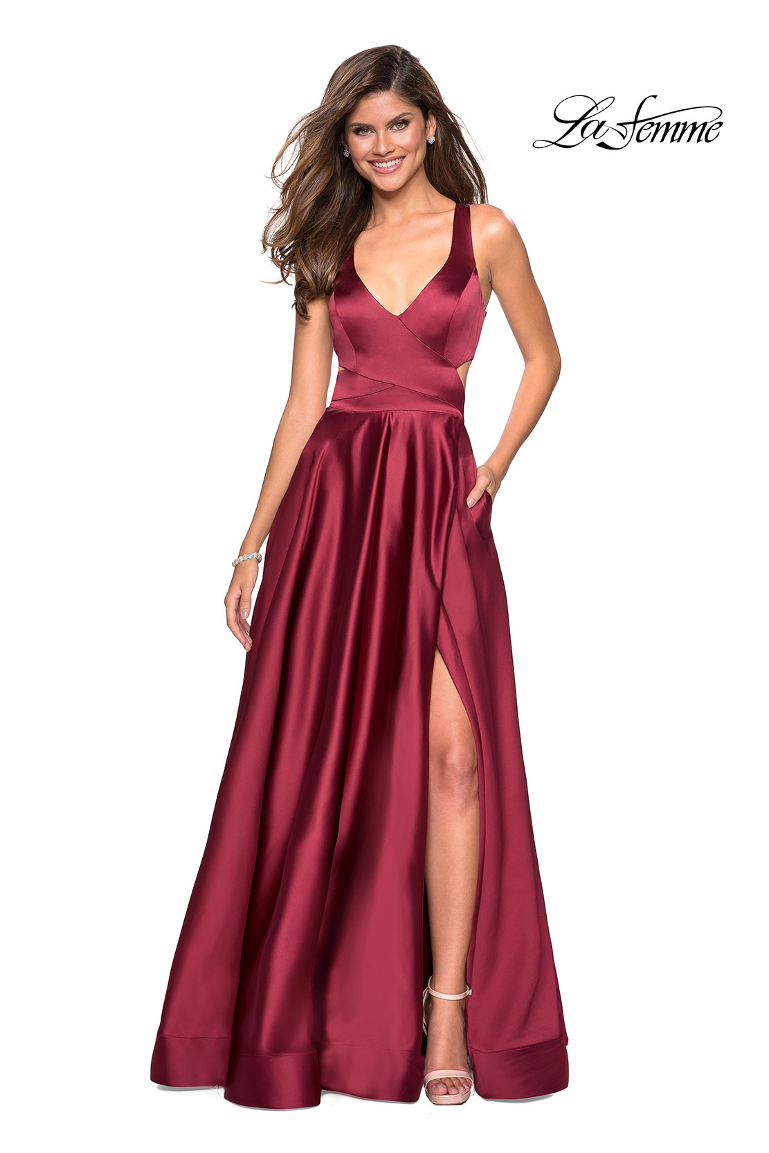 6f9e76c04f Picture of  Metallic Satin Dress with Wrap Around Top and Pockets