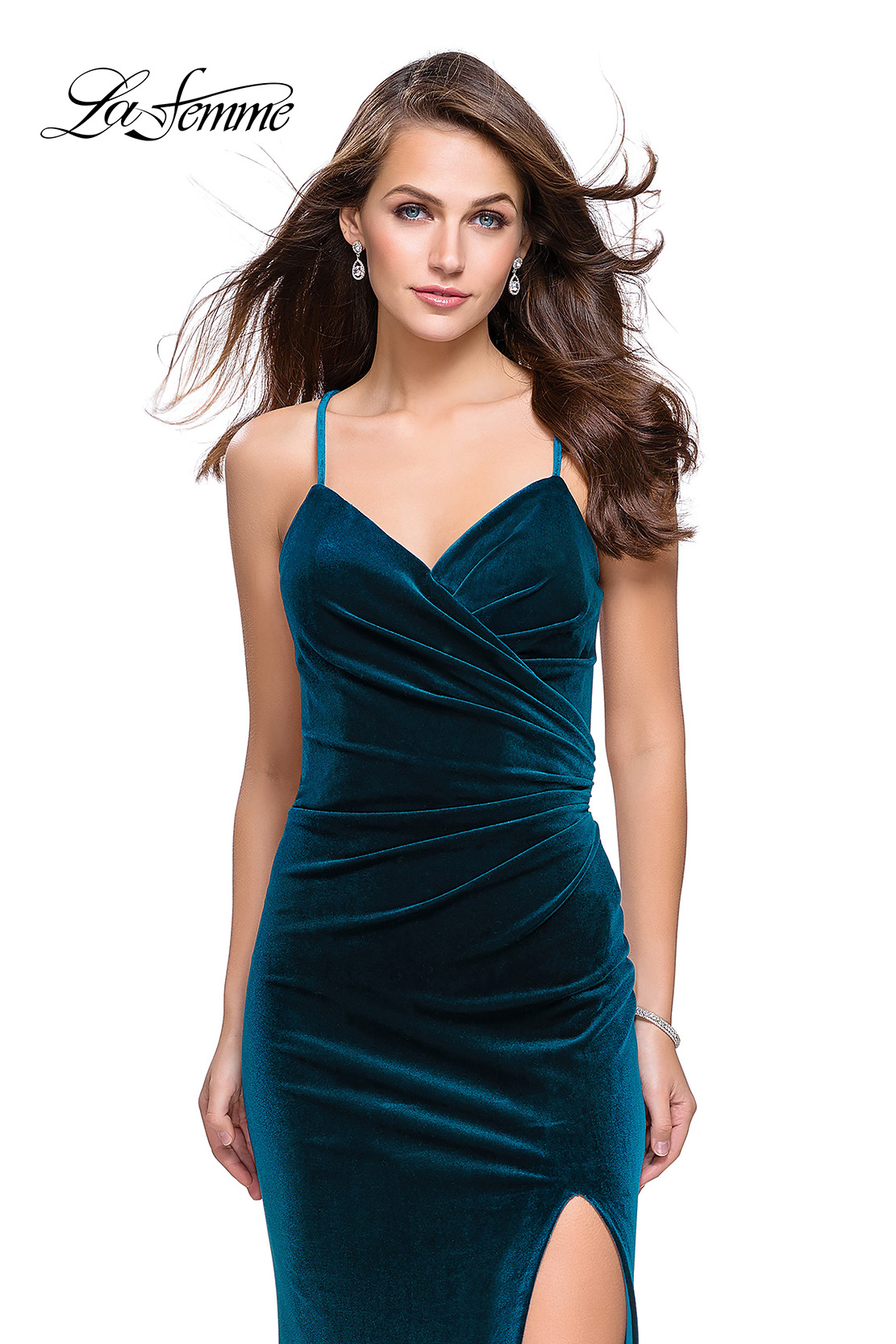 Picture of: Velvet Prom Dress with Strappy Back and Small Train, Style:  25184