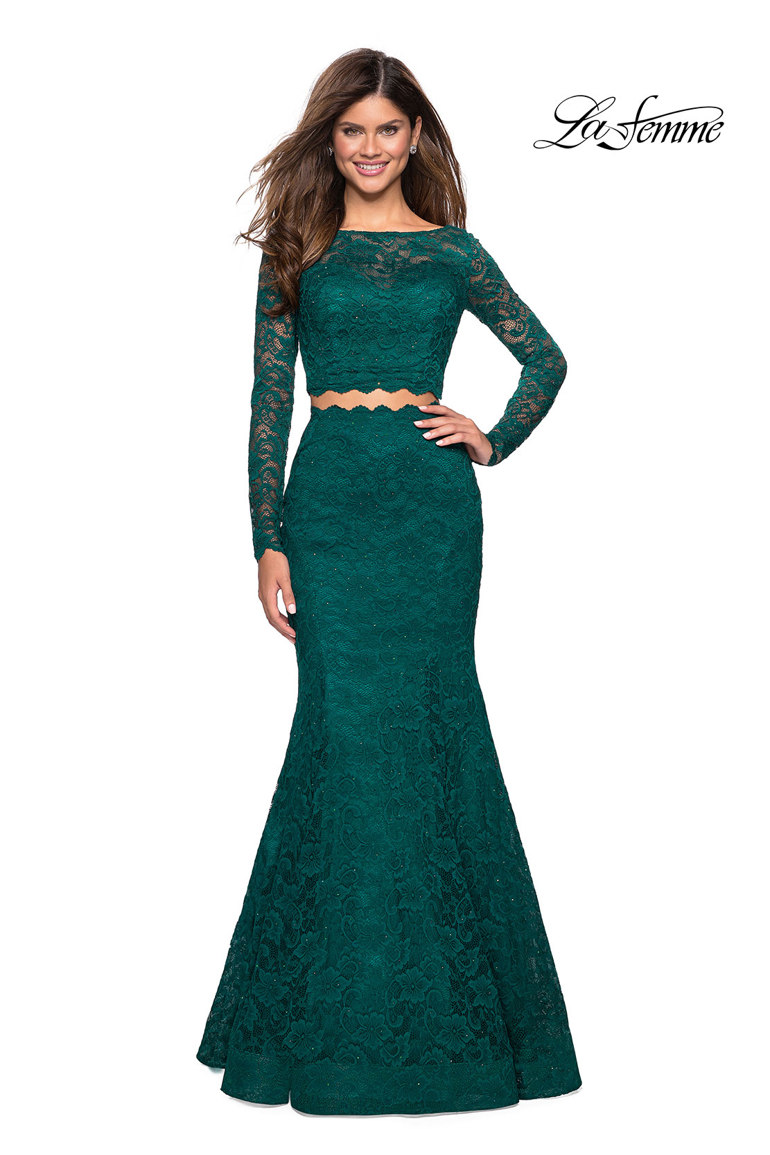 bc5ba9fd2af Picture of  Stretch Lace Long Sleeve Two Piece Prom Dress