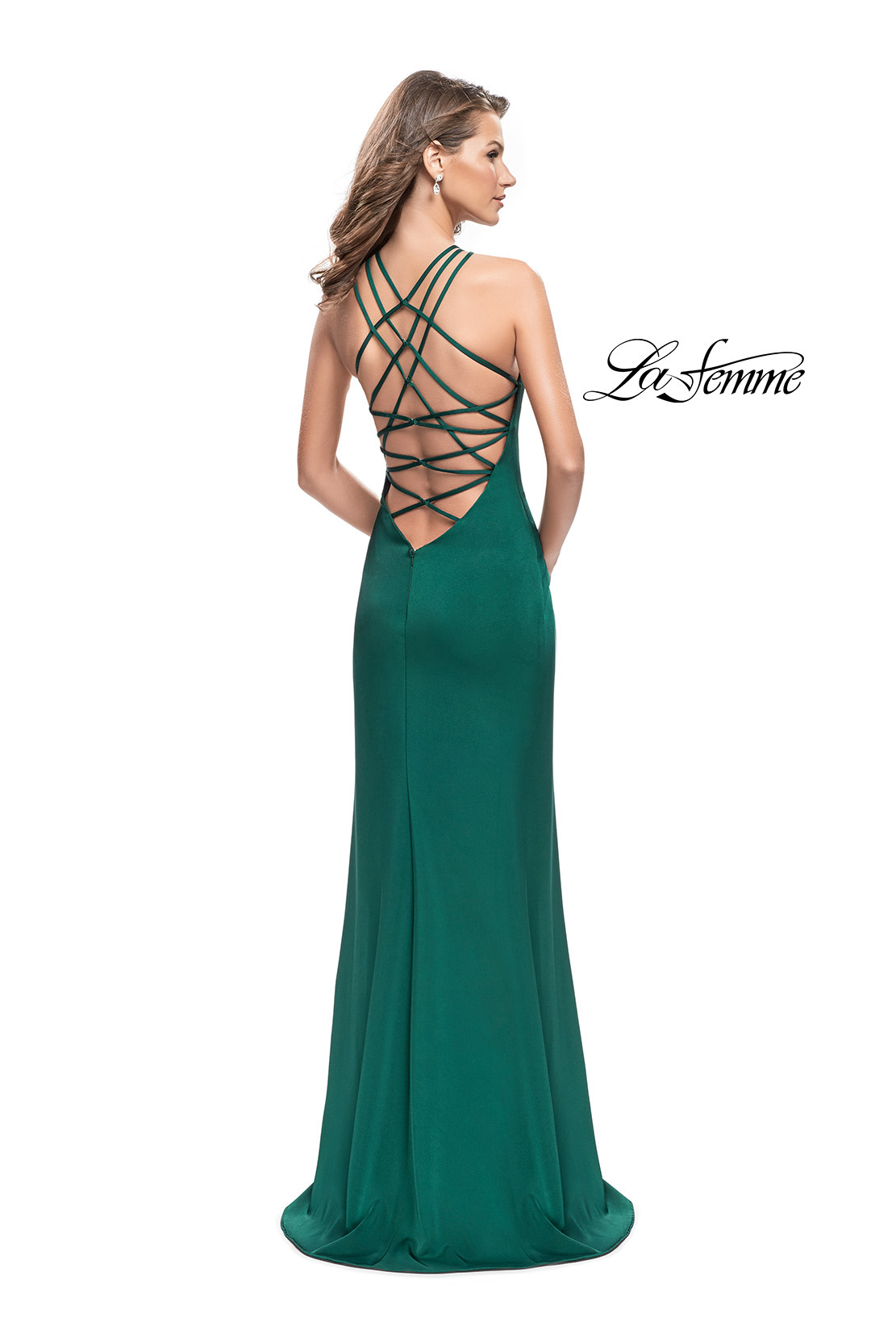 303fb0105ac Picture of  Long Satin Halter Prom Dress with Criss Cross Back