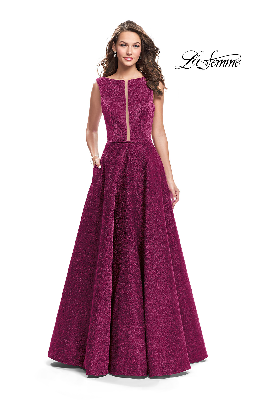 2e7cb96f1a3e ... Prom dresses; La Femme 25895. Picture of: High Neck Sparkling A-line  Dress with Strappy Open Back, Style