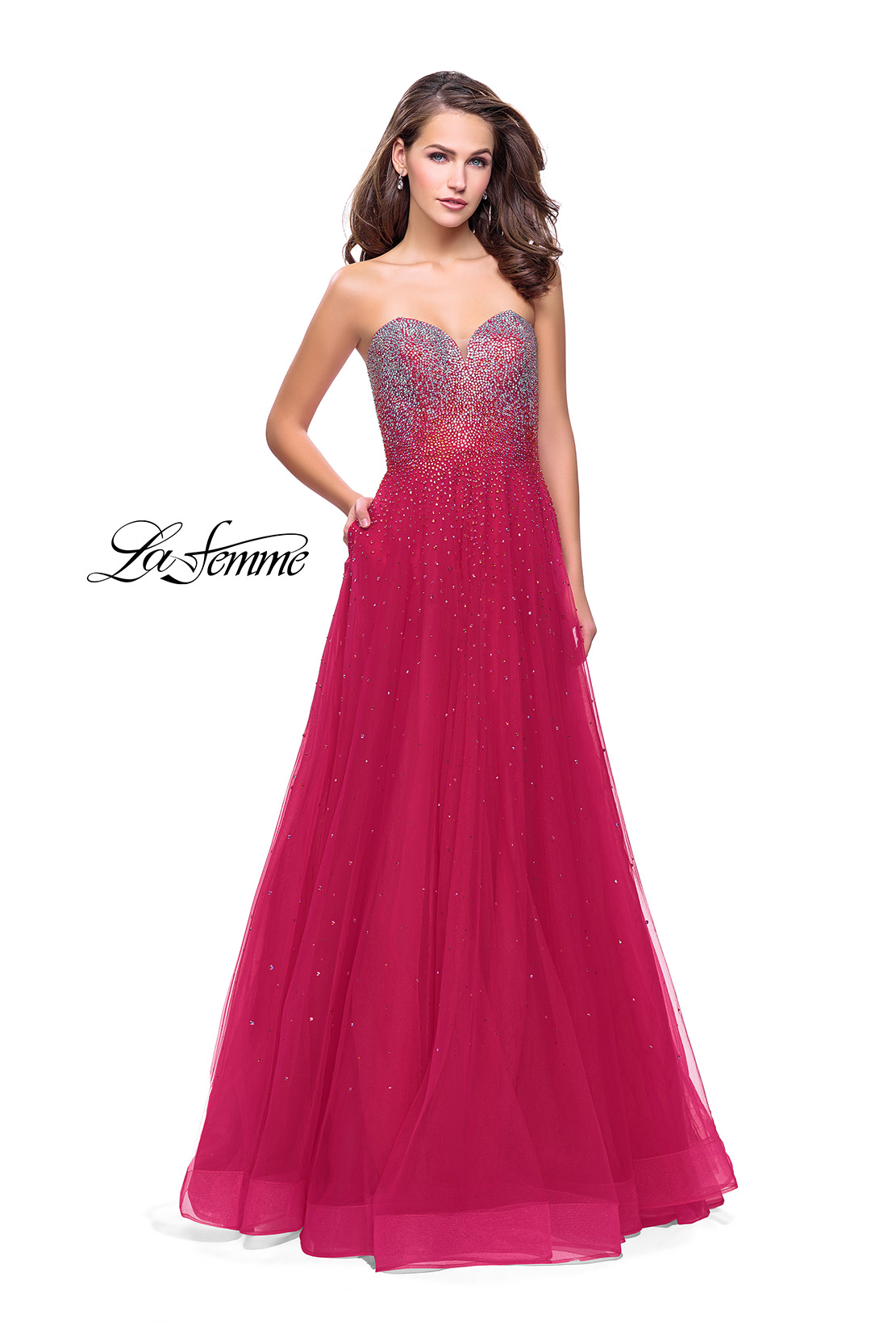 efff7ddb030 Picture of  Long Strapless Ball Gown with Metallic Ombre Rhinestones