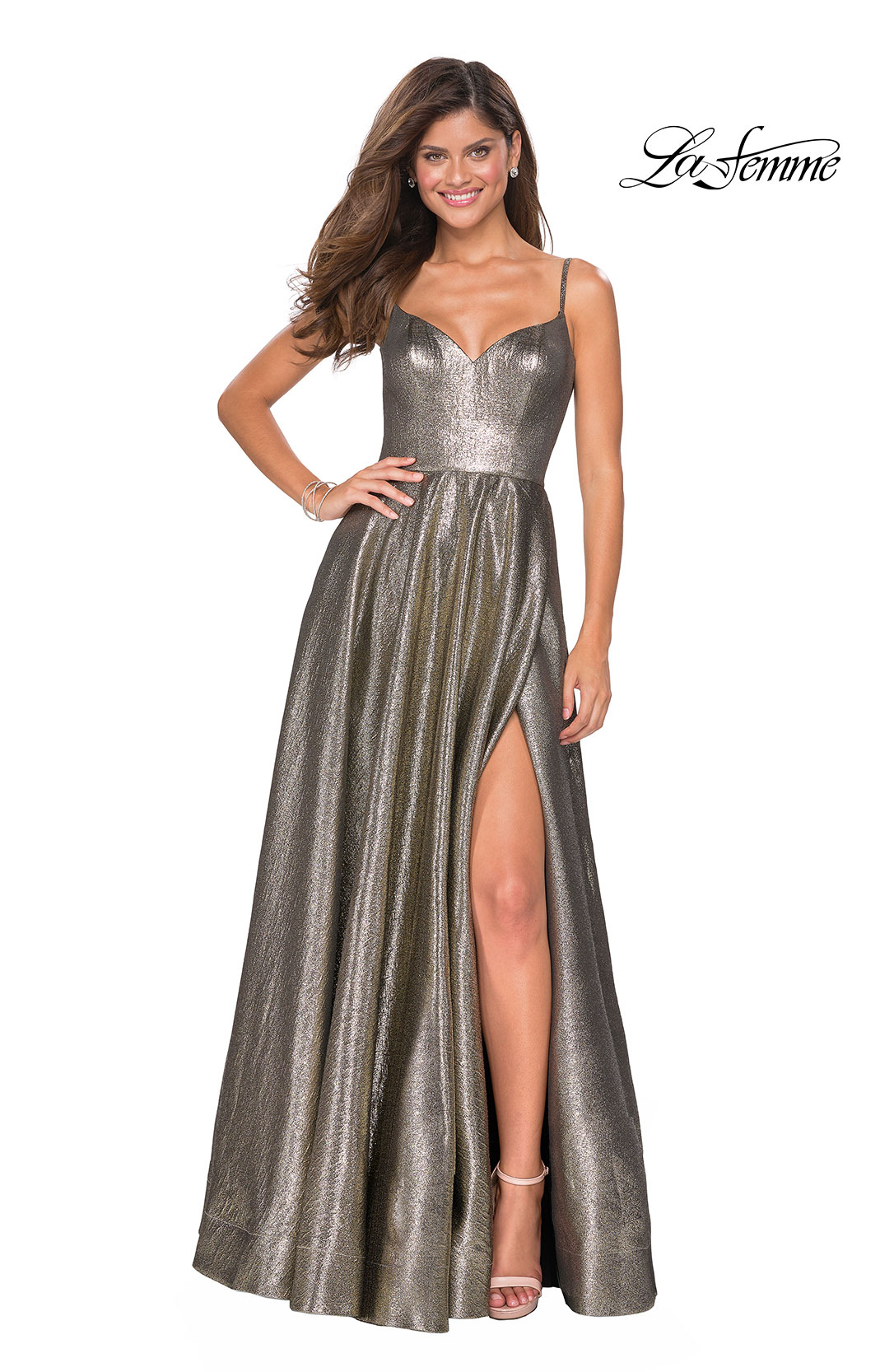 84a4edc8279 Picture of  Metallic A-line Prom Gown with Side Leg Slit