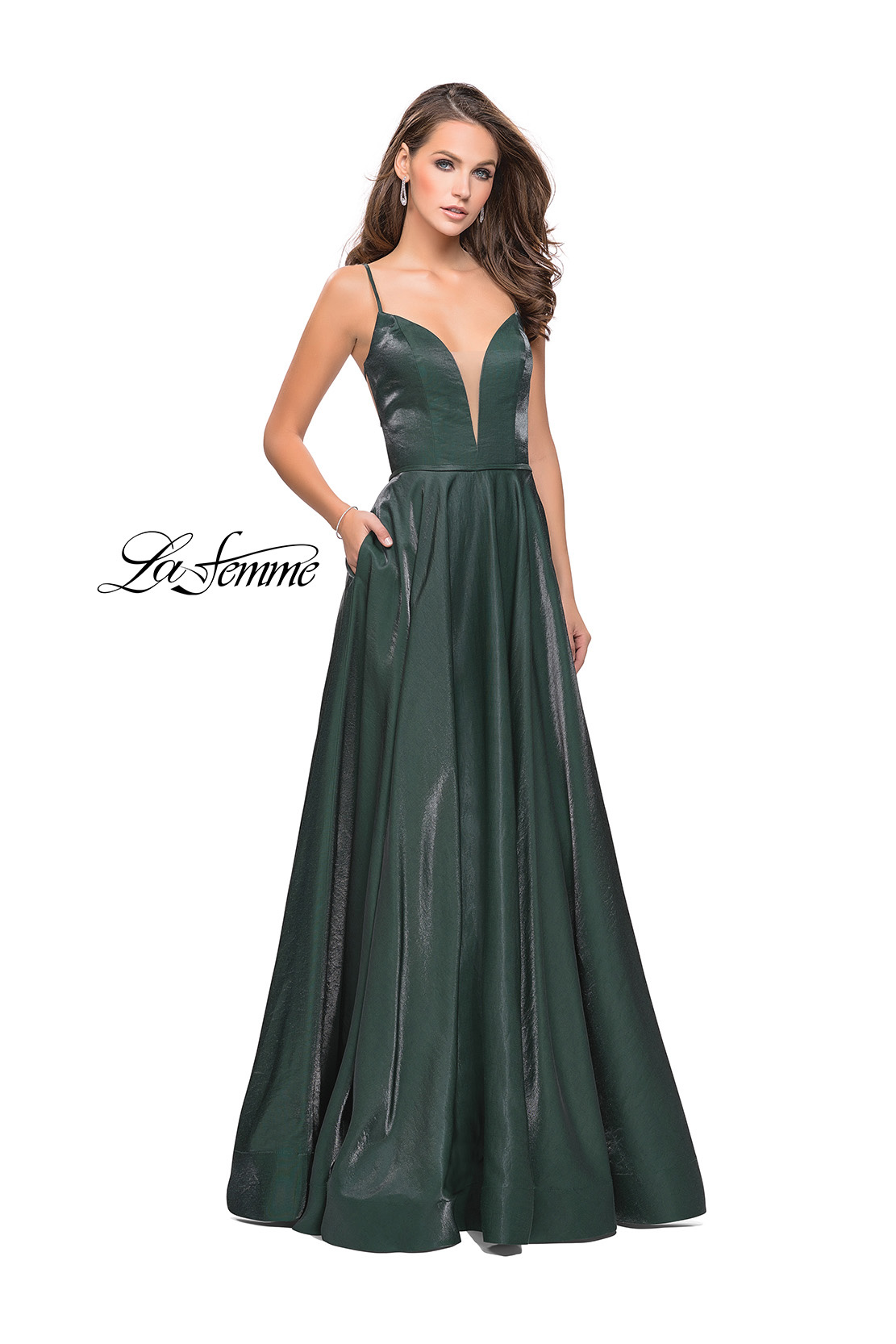 2e7ac4fce3 Picture of  Satin A-line Gown with Deep V Sweetheart Neckline