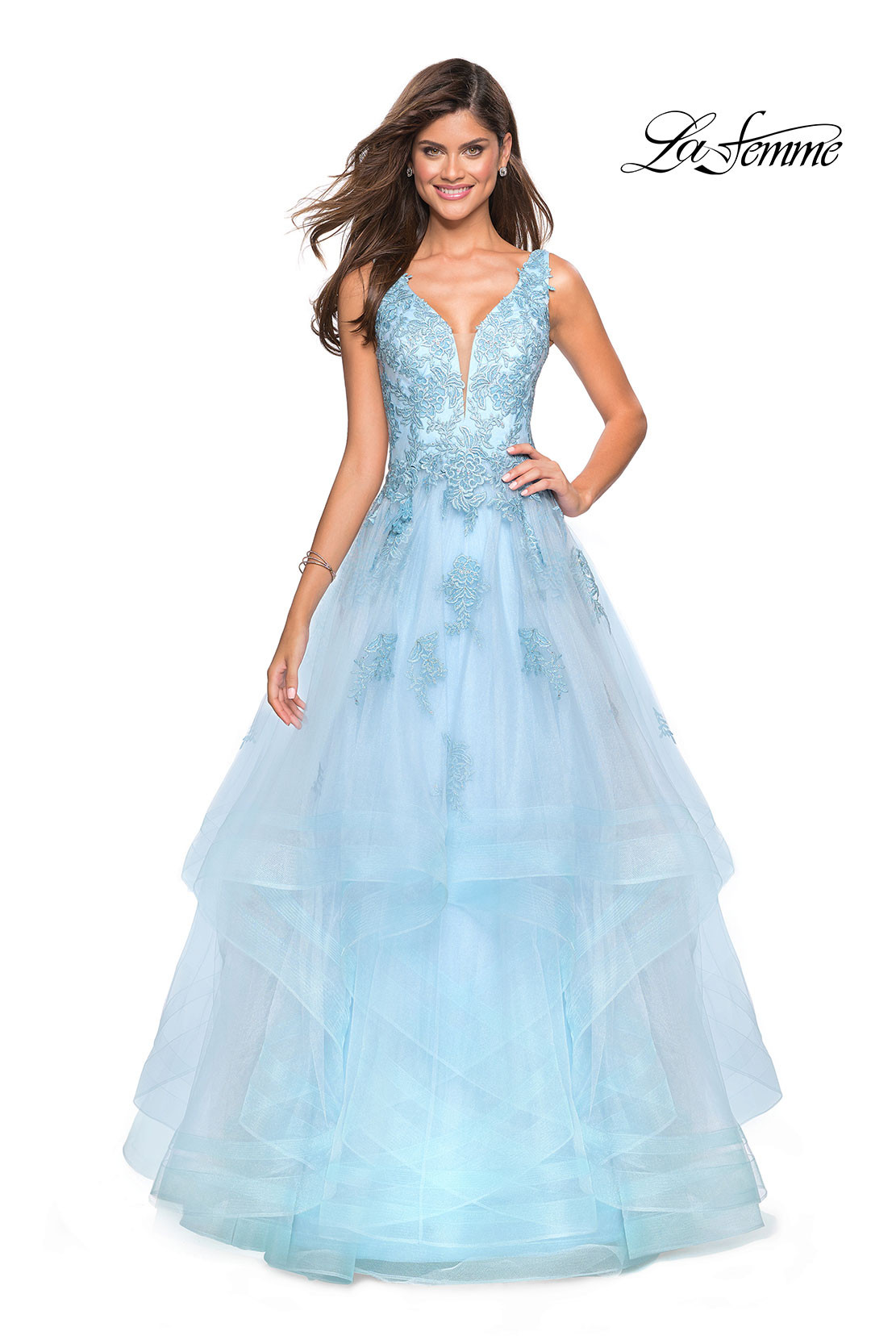 930414207473 Picture of: Layered Tulle Long Prom Gown with Lace Appliques, Style: 27256,