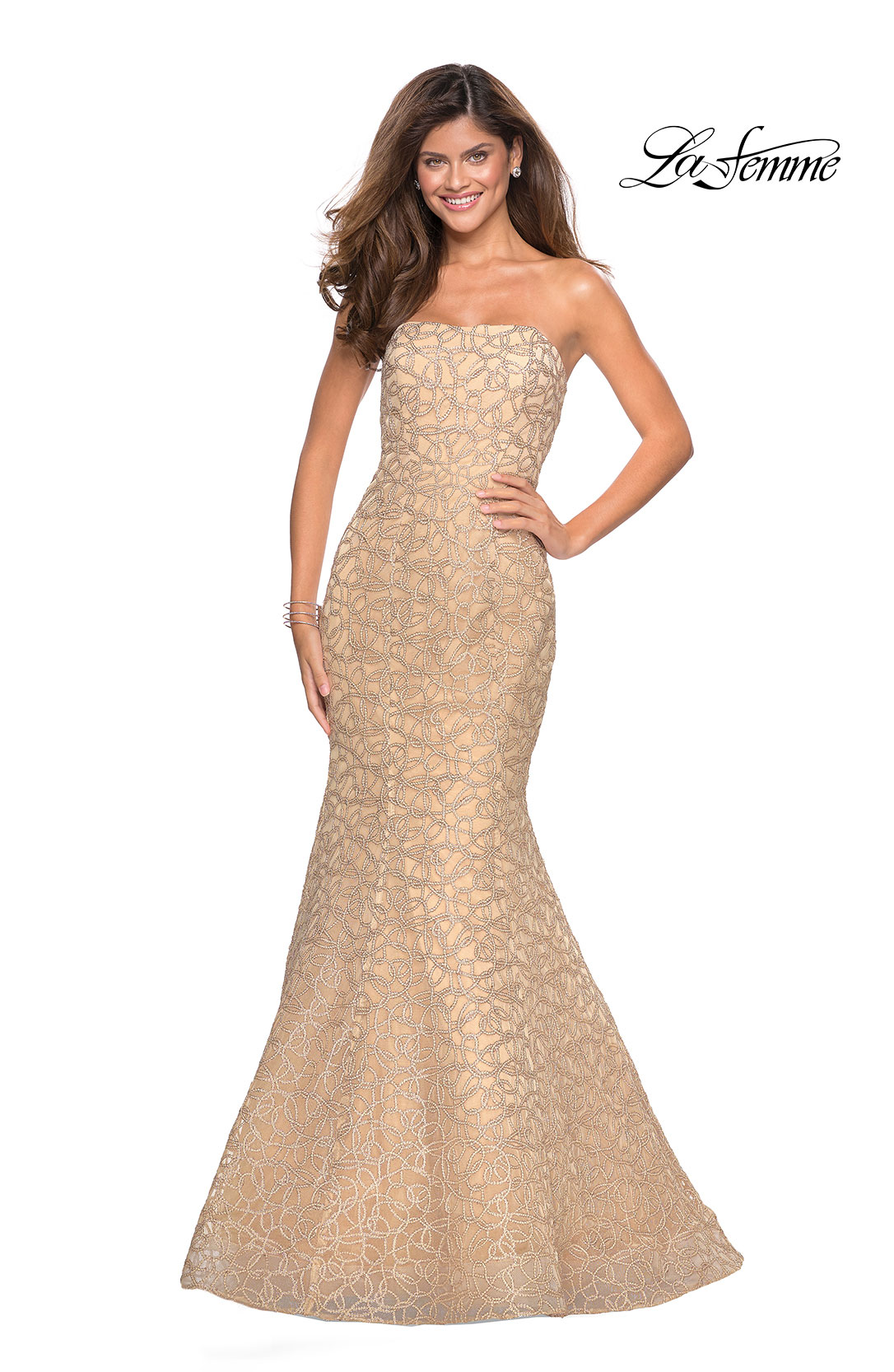 2934d497bb0 Picture of  Long Mermaid Metallic Lace Strapless Prom Dress