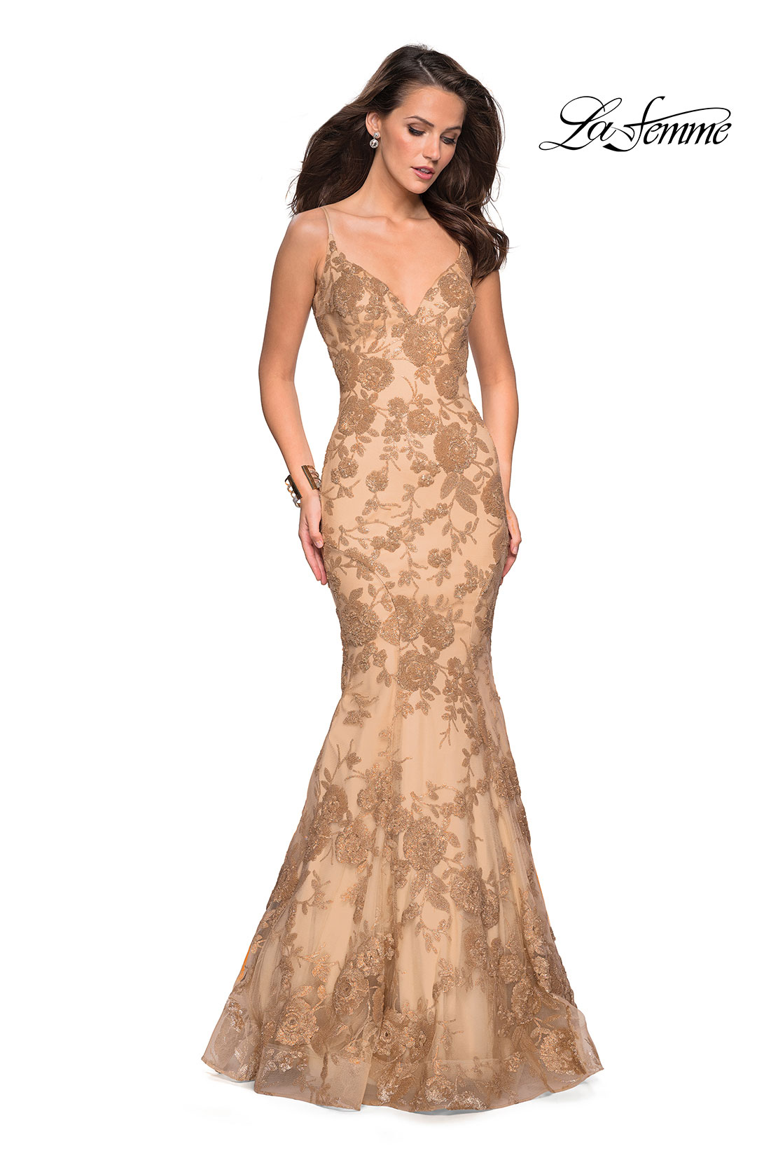 1c7041373efe Picture of  Long Gold Prom Dress with Sequin Floral Design