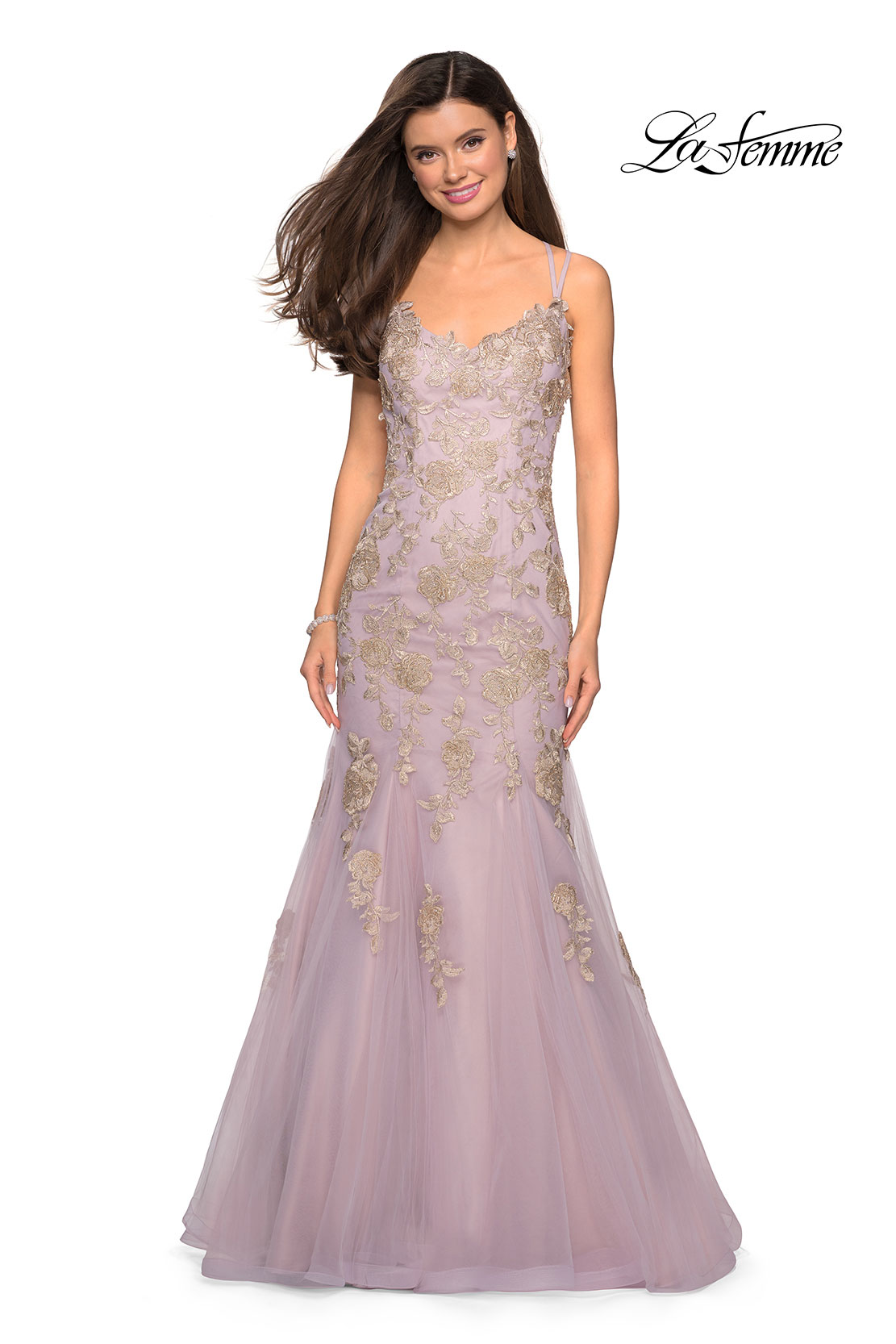 4be19abbc4286 ... Prom dresses; La Femme 27710. Picture of: Mermaid Tulle Prom Dress with  Floral Appliques, Style: 27710, Main