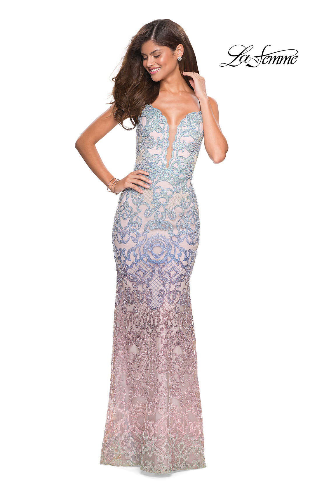 4b537f79f01 Picture of  Floor Length Fully Beaded Rainbow Ombre Prom Gown