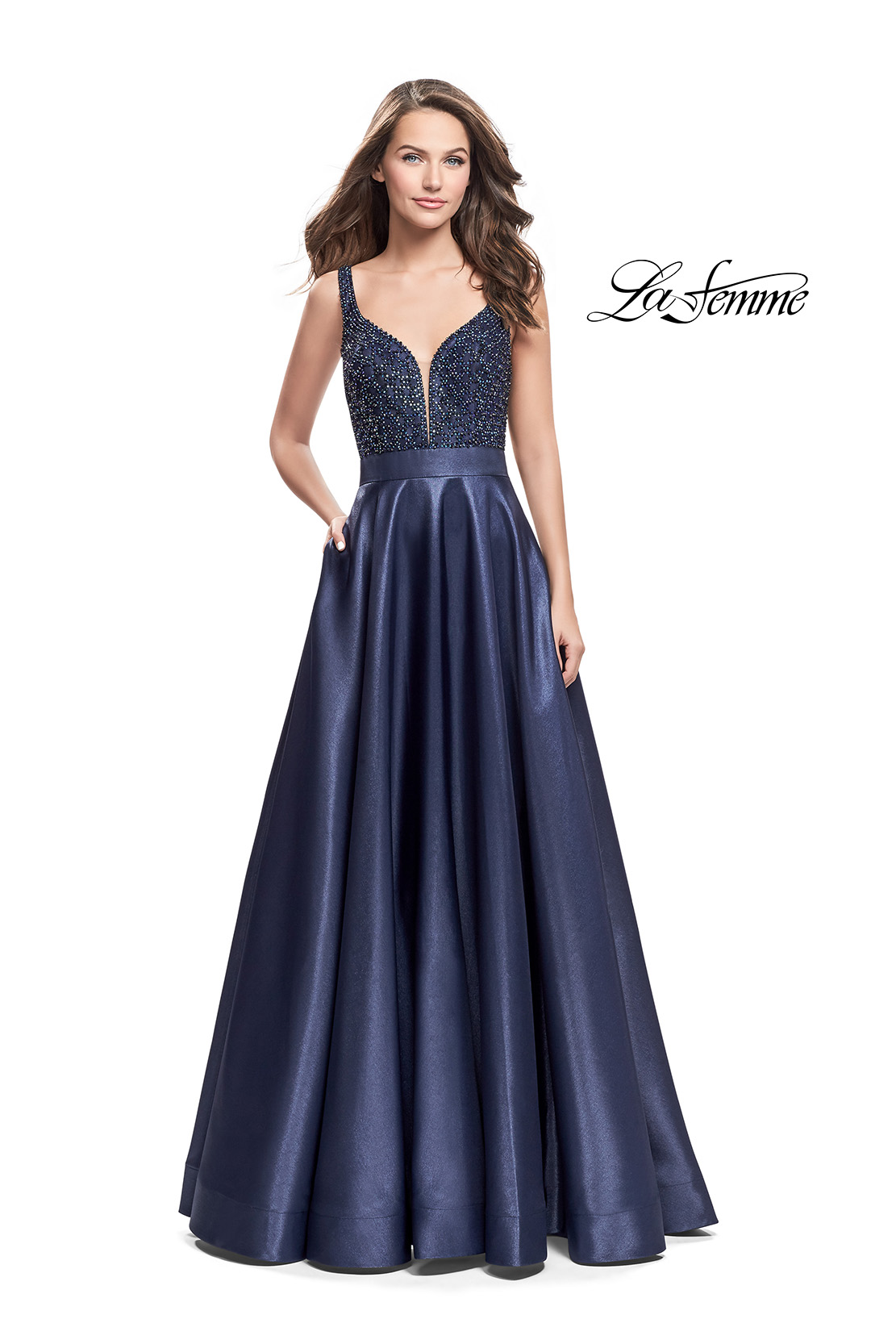 f05787738a5 Picture of  Long Mikado Prom Dress with Beaded Bodice
