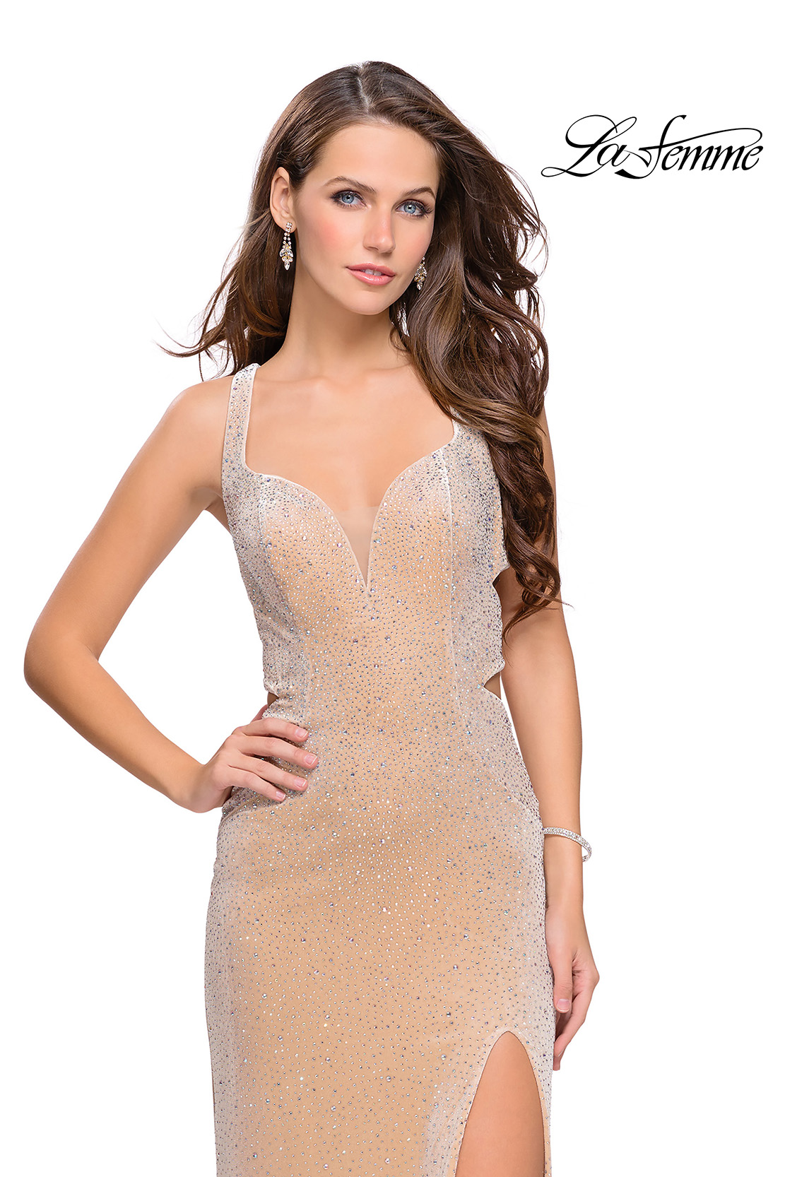 Rhinestone Prom Dresses with Cutouts