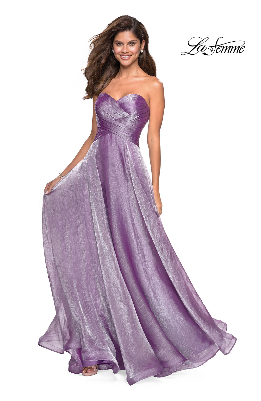 7cde50a879b Picture of  Strapless Chiffon Dress with Criss Cross Bodice Detail