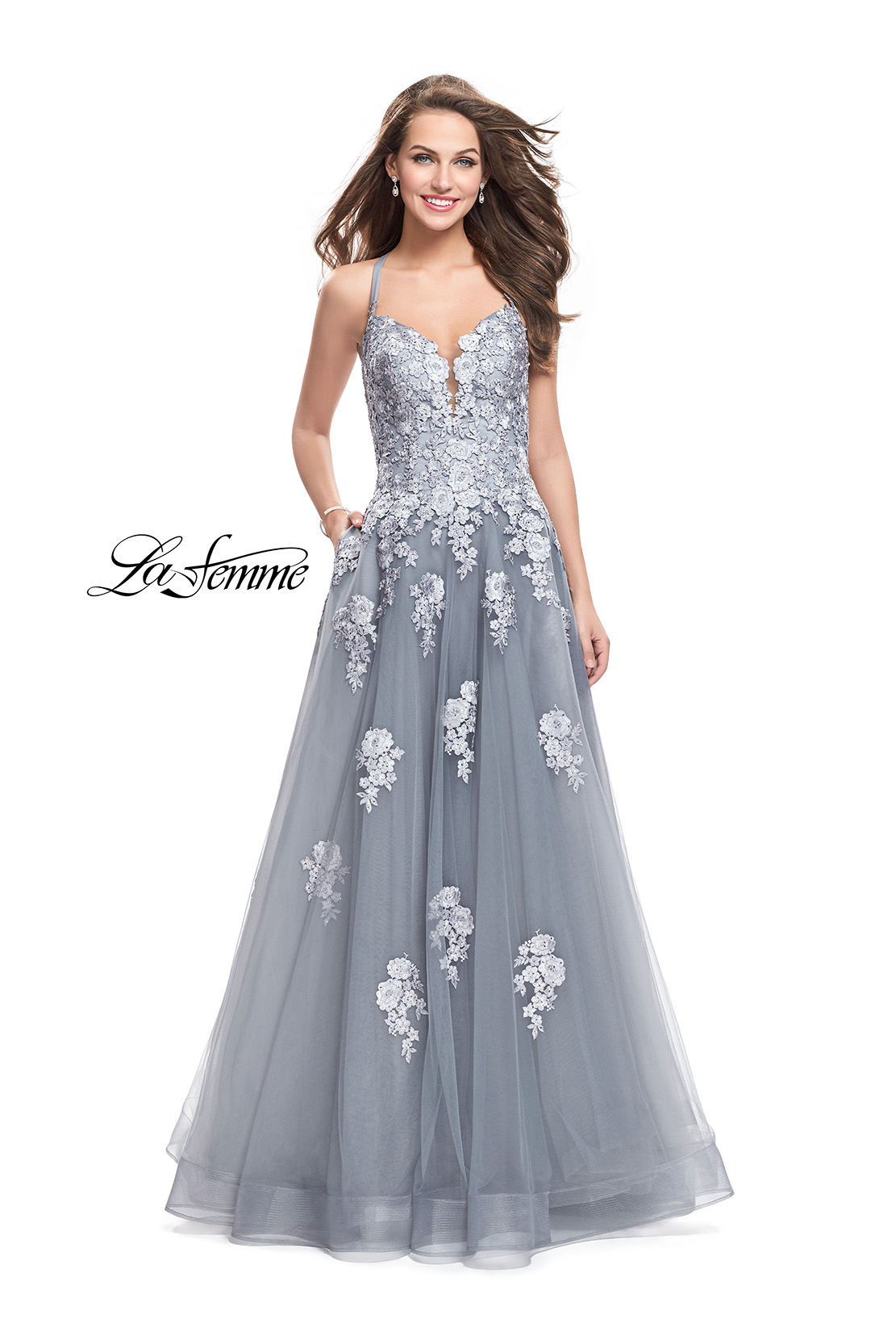 48d255ec93c1 Picture of: Long Floral Lace Ball Gown with Tulle Skirt, Style: 26236,