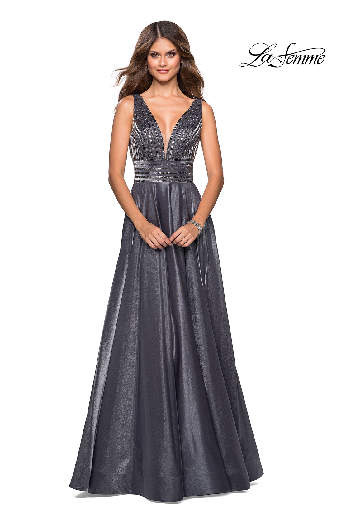 c2c0e2ca9c8 A Line V Neck Royal Blue Satin Prom Dress With Beading Pockets