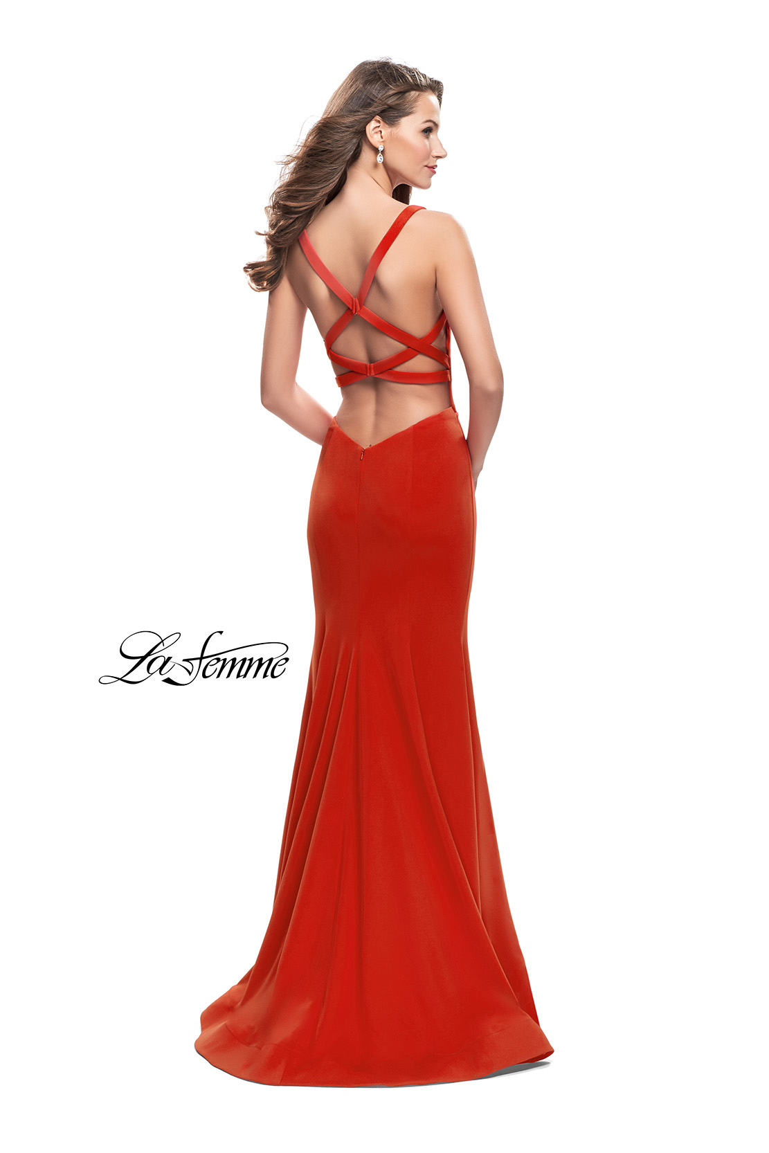 Picture of: Long Form Fitting Jersey Prom Dress with Open Back, Style: 25651