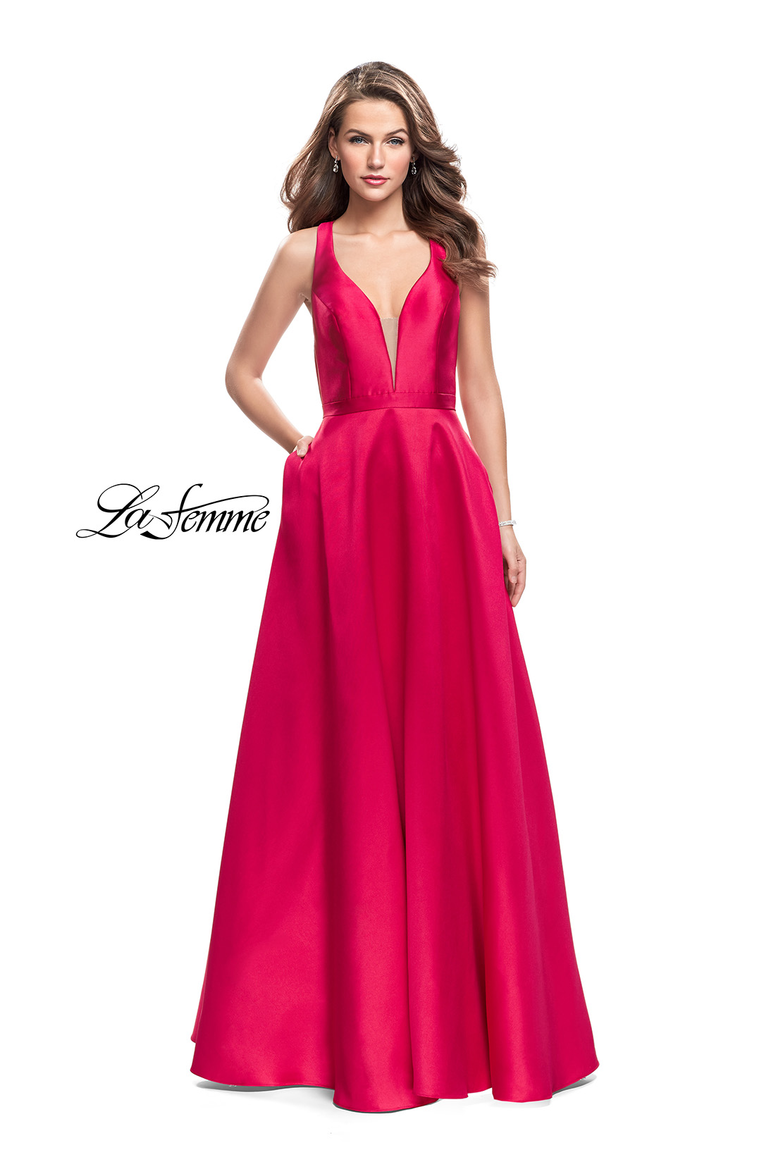 f4e98106680 Picture of  Mikado A-line Prom Dress with Strappy Open Back