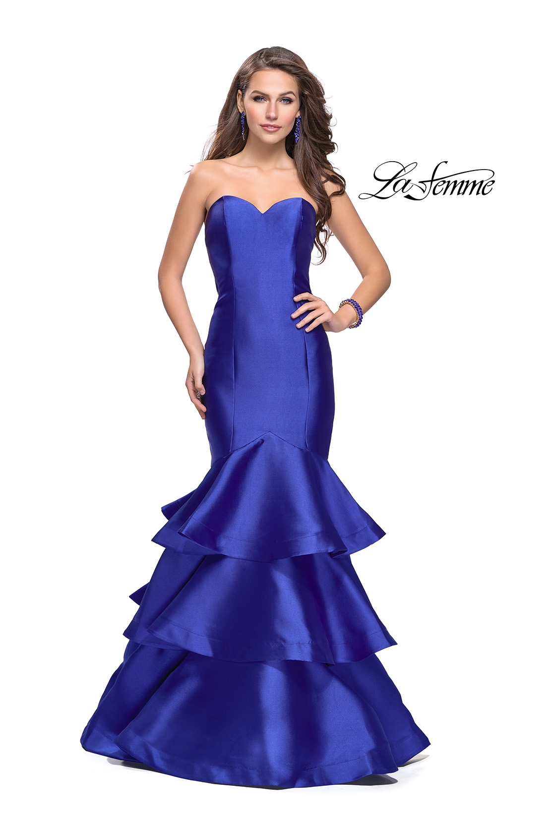 397390c2cbde Picture of: Long Mikado Mermaid Gown with Tiered Ruffle Skirt, Style: 25432,