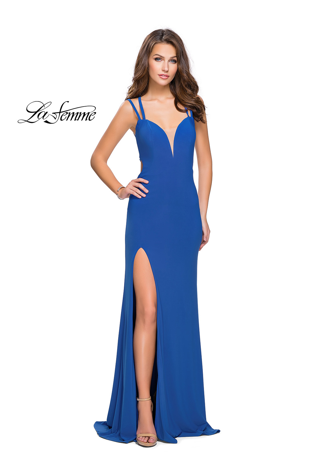52f849562cb Picture of  Long Classic Prom Dress with Side Leg Slit and Deep V
