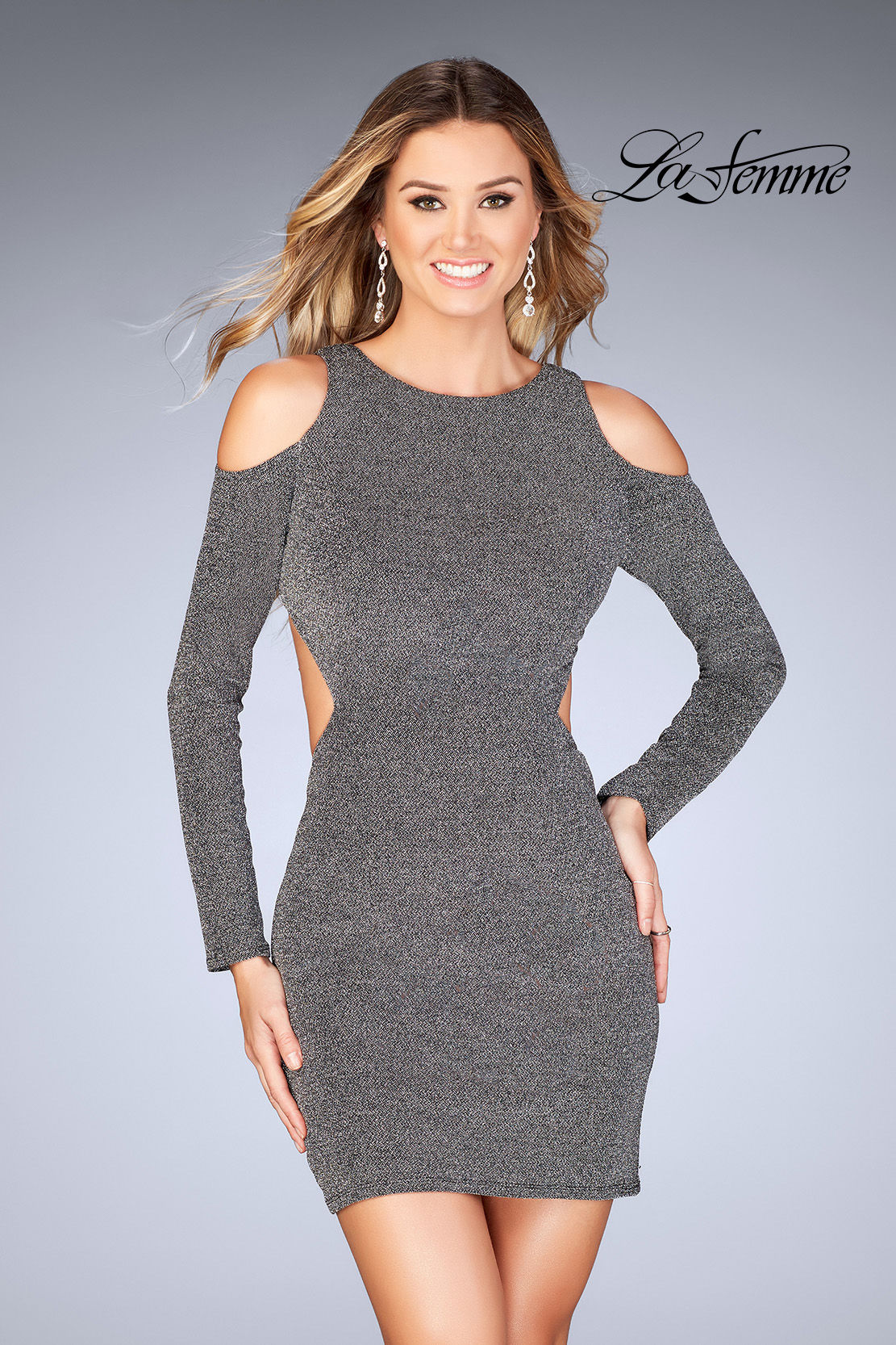 99254b28be6 Picture of  Long Sleeve Short Dress with Shoulder Cut Outs
